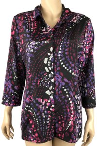 Alia Collar Abstract Print Button Down Shirt Multi