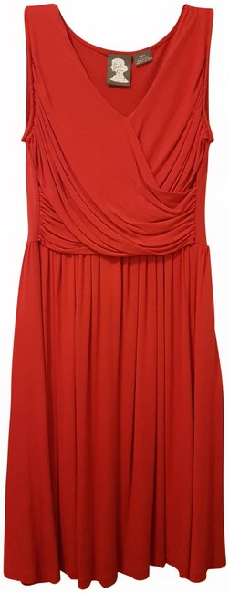 Item - Red Jersey Girls From Savoy- Bodice Mid-length Short Casual Dress Size 4 (S)