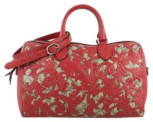 Gucci Convertible Boston Gg Coated Canvas Satchel in red