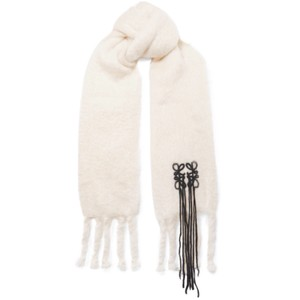 Loewe logo embroidered fringed mohair scarf