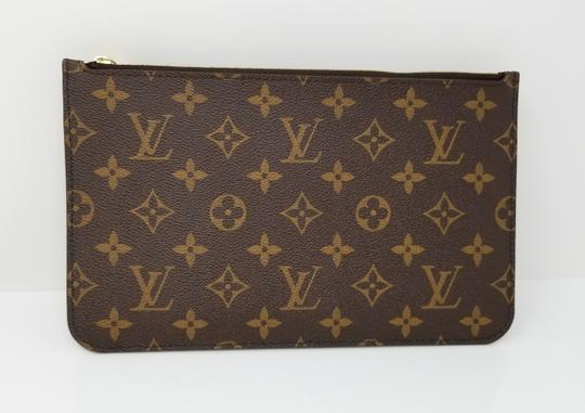 Louis Vuitton Pochette Neverfull Pouch Cosmetic Red Interior Wristlet in Brown Image 1