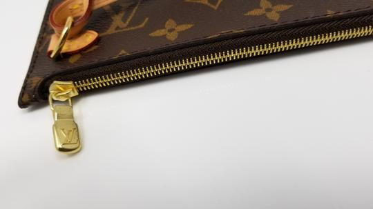 Louis Vuitton Pochette Neverfull Pouch Cosmetic Red Interior Wristlet in Brown Image 10
