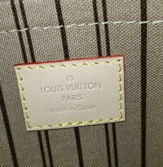 Louis Vuitton Pochette Neverfull Pouch Cosmetic Red Interior Wristlet in Brown Image 6