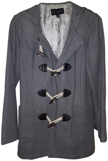 Item - Grey Wool Hooded with Toggle Closure Coat Size 2 (XS)