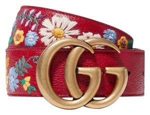 Gucci GG logo floral embroidered belt size 70