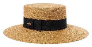 Gucci Lamé Papier Bee Straw Hat Large