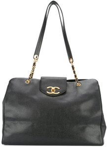 Chanel Vintage Tote Caviar Leather Luggage Black Travel Bag