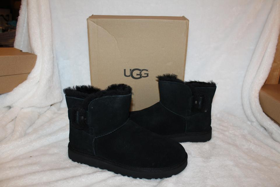 7d9fda9bba5 UGG Australia Black Fluff Buckle Mini Suede Shearling Boots/Booties Size US  11 Regular (M, B) 30% off retail