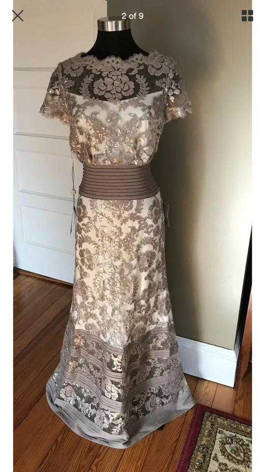 Tadashi Shoji Tan Embroidered Lace Long Cocktail Dress Size Petite 12 L 42 Off Retail