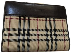 Burberry Nova Plaid & Leather French Wallet