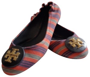 Tory Burch Red purple striped canvas Flats