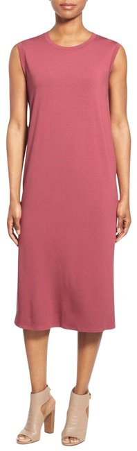 Item - Pink Jersey Rosewood Round Neck Calf Length Shift Mid-length Short Casual Dress Size 14 (L)