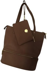 Joy Mangano Pebble Leather Double Strap Tote in Camel