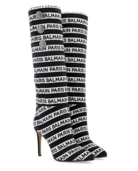Item - Black and White 95 Mm Jane Logo Slouchy Fabric Boots/Booties Size EU 38 (Approx. US 8) Regular (M, B)