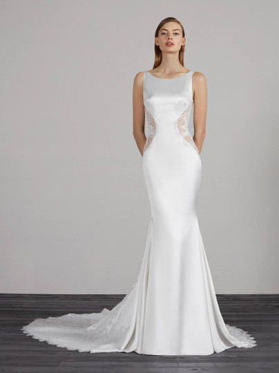 Pronovias Off White Satin and Lace Marion Sexy Wedding Dress Size 4 (S) Image 7