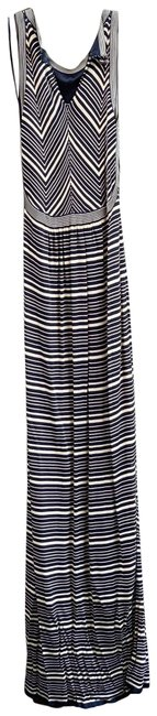Item - Navy and Ecru Nwot Knit Long Casual Maxi Dress Size 12 (L)