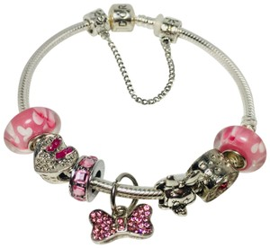 PANDORA Iconic Pandora Bracelet | Minnie Mouse Bow Charm Inspired | With European Charms