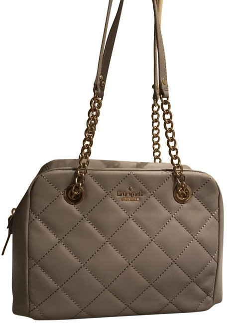Item - New York Emerson Place Dewy Luxe Chain Link Tote Satchel Handbag Purse City Fog Gray Quilted Leather Shoulder Bag