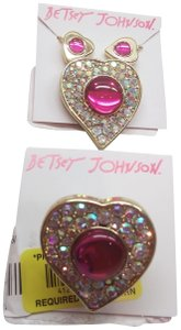 Betsey Johnson Betsey Johnson New Hot Pink Heart Necklace, Earrings, & Ring