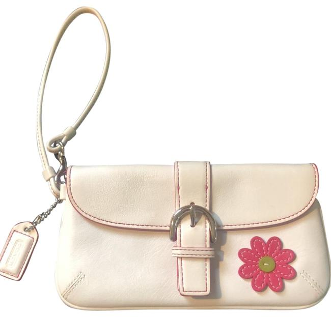 Item - With Pink Daisy On One Side White Leather Wristlet