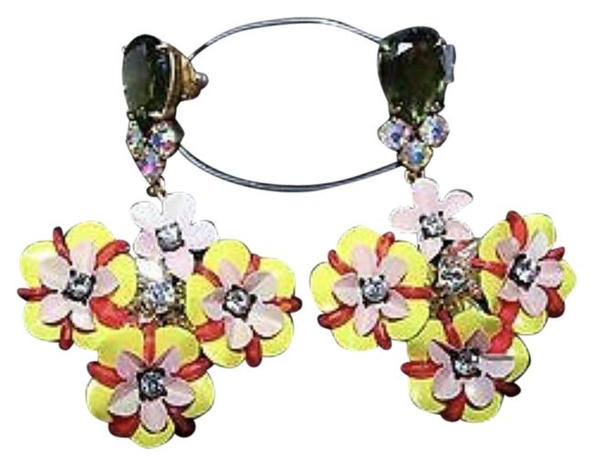 J.Crew Yellow Fun Floral and Crystal Earrings J.Crew Yellow Fun Floral and Crystal Earrings Image 1