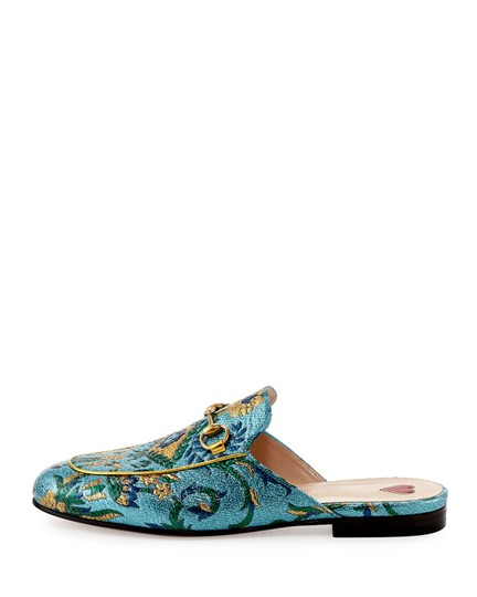 Gucci Brocade Princetown Embroidered Multicolor Mules Image 1