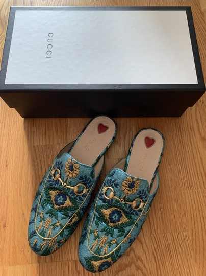 Gucci Brocade Princetown Embroidered Multicolor Mules Image 2