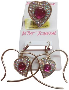 Betsey Johnson Betsey Johnson New Hot Pink Heart Ring and Earrings