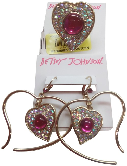 Item - Hot Pink New Heart Ring and Earrings