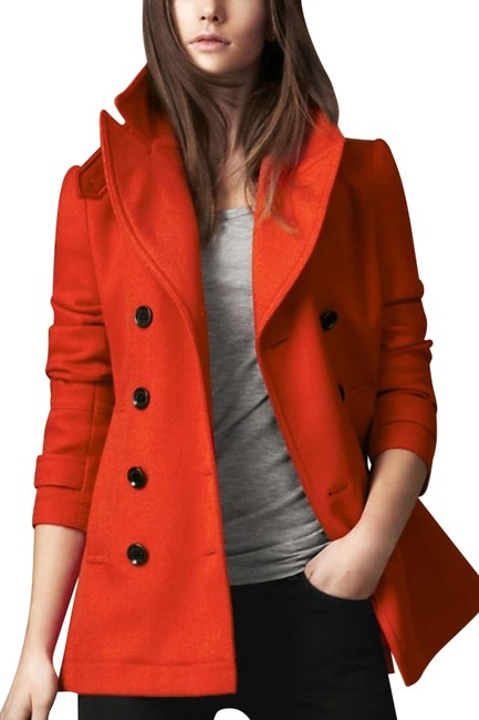 Item - Orange Red Fenstead Double Breasted Wool Coat Size 4 (S)