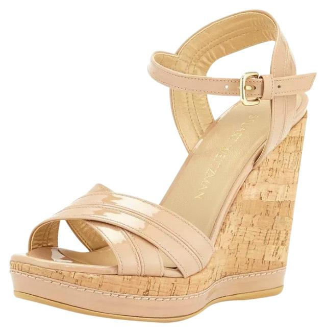 Item - Nude Minky Patent Leather Platform High Heels Sandals Wedges Size US 10.5 Narrow (Aa, N)
