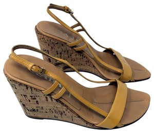 Prada mustard gold Wedges