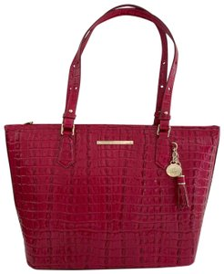 Brahmin Asher Shoulder Croc Leather Tote in Fuschia/Pink