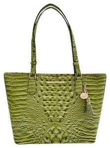 Brahmin Asher Croc Leather New Tote in Avocado/Green