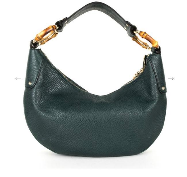 Item - Bamboo Ring Forest Green Leather Hobo Bag