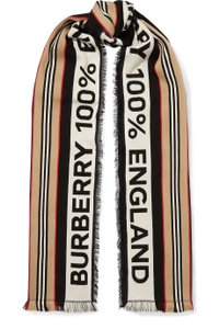 Burberry Fringed intarsia ribbed cotton scarf