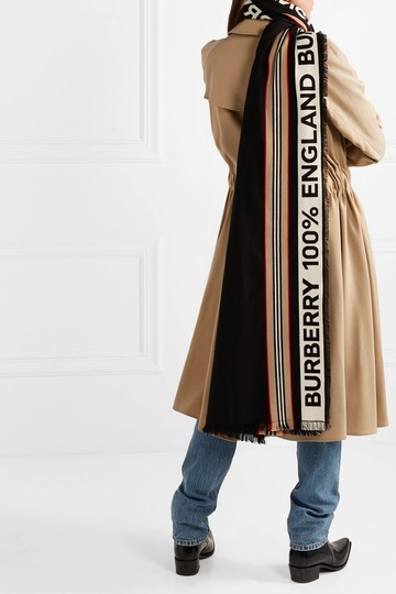 Burberry Fringed intarsia ribbed cotton scarf Image 1