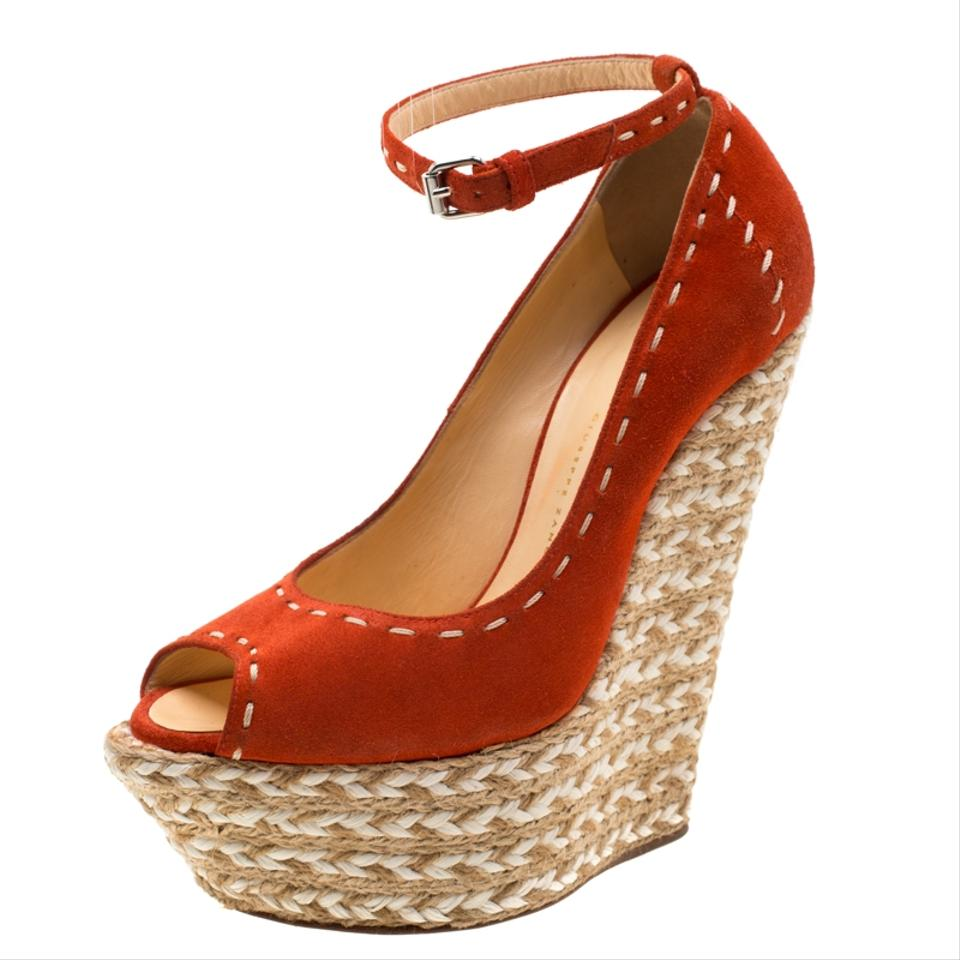 f6cf044a0b9 Giuseppe Zanotti Orange Suede Peep Toe Platform Wedge Espadrille Sandals  Size EU 37 (Approx. US 7) Regular (M, B) 36% off retail