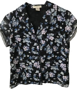 Notations Flower Buttons Lace Trim Top navy
