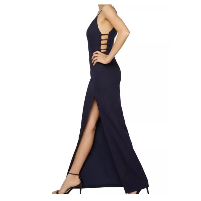Fame and Partners Navy High Slit Strappy Sides Gown Long Formal Dress Size 8 (M) Fame and Partners Navy High Slit Strappy Sides Gown Long Formal Dress Size 8 (M) Image 1