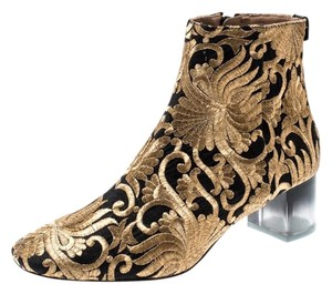 Tory Burch Metallic Fabric Ankle Gold Boots