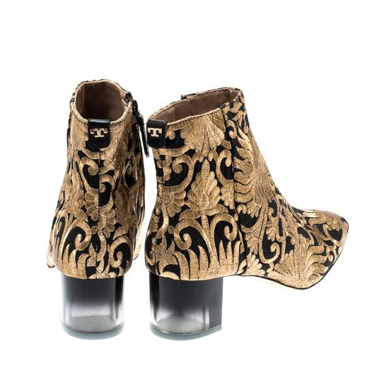 Tory Burch Metallic Fabric Ankle Gold Boots Image 2