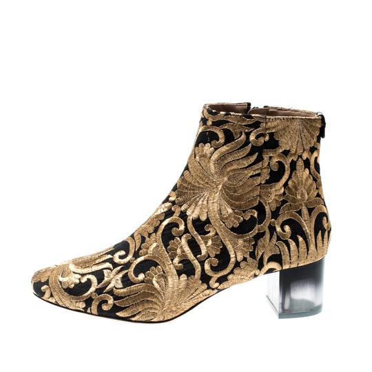 Tory Burch Metallic Fabric Ankle Gold Boots Image 4