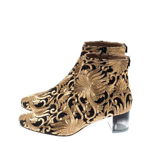Tory Burch Metallic Fabric Ankle Gold Boots Image 7