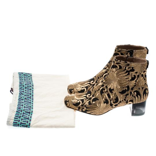Tory Burch Metallic Fabric Ankle Gold Boots Image 8