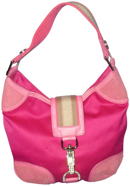 Item - With Works Pink Suede Pvc Leather Hobo Bag