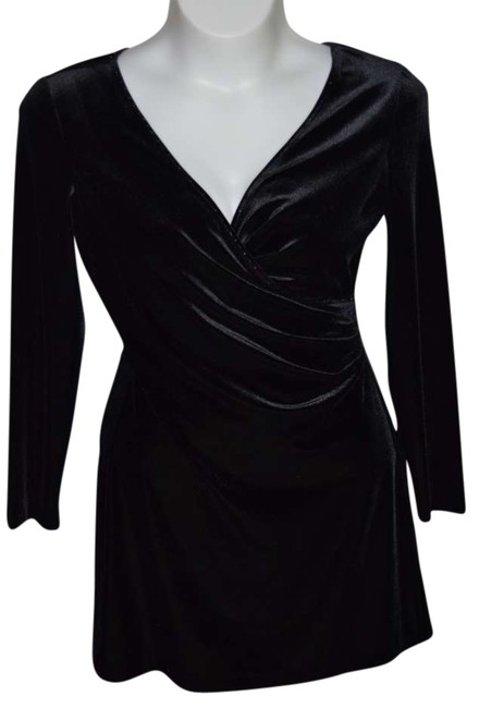 Muse Like New Above Knee Length Velvet Criss-cross Chest Evening Cocktail Night Out Very Soft Stretchy Fabric Stylish Dress