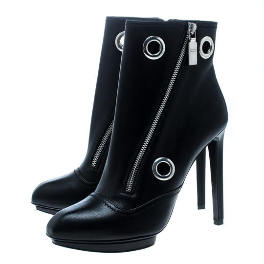 Alexander McQueen Leather Detail Ankle Black Boots Image 3