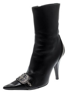Dior Leather Pointed Toe Ankle Black Boots