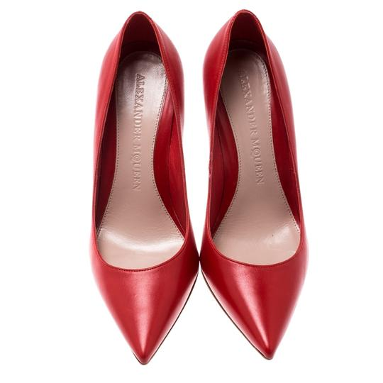 Alexander McQueen Leather Pointed Red Pumps Image 1
